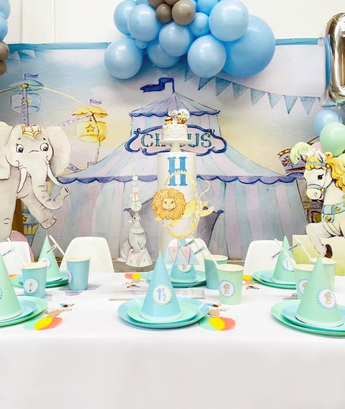 Circus Themed Guest Table from a Pastel Circus Party on Kara's Party Ideas | KarasPartyIdeas.com (16)
