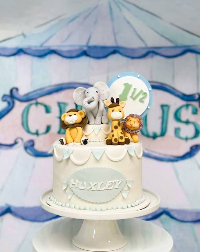 Circus Themed Birthday Cake from a Pastel Circus Party on Kara's Party Ideas | KarasPartyIdeas.com (12)