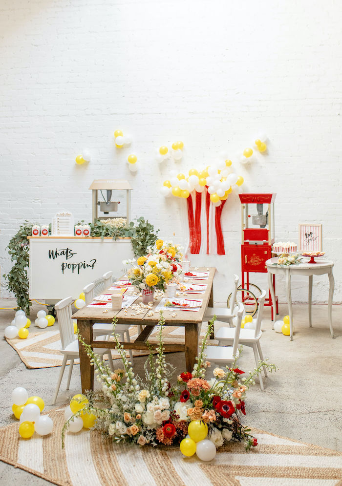 Popcorn Themed Sweet Table from a Popcorn Party on Kara's Party Ideas | KarasPartyIdeas.com (28)