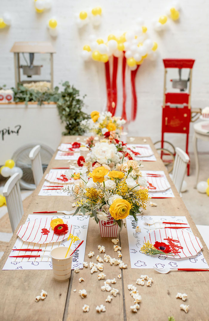 Popcorn Themed Guest Table from a Popcorn Party on Kara's Party Ideas | KarasPartyIdeas.com (27)