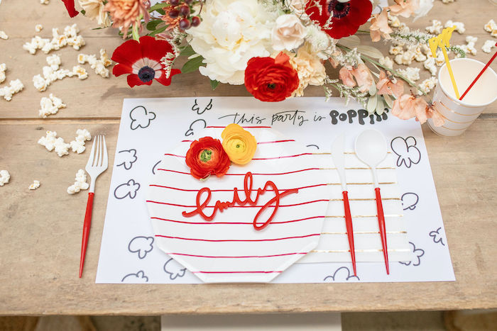 Personalized Popcorn Themed Guest Table Setting from a Popcorn Party on Kara's Party Ideas | KarasPartyIdeas.com (23)