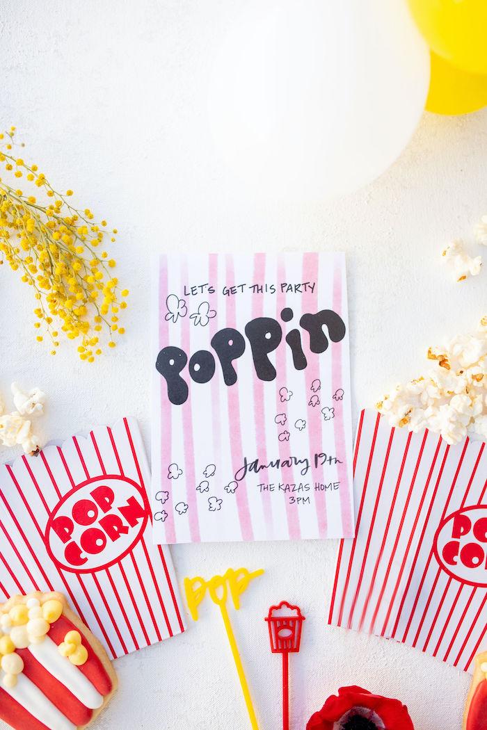 Poppin' Popcorn Party Invite from a Popcorn Party on Kara's Party Ideas | KarasPartyIdeas.com (40)