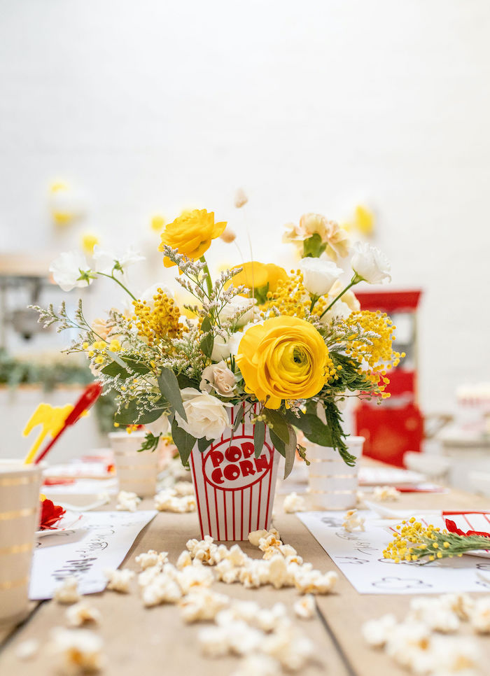 Popcorn Box Floral Arrangement from a Popcorn Party on Kara's Party Ideas | KarasPartyIdeas.com (17)
