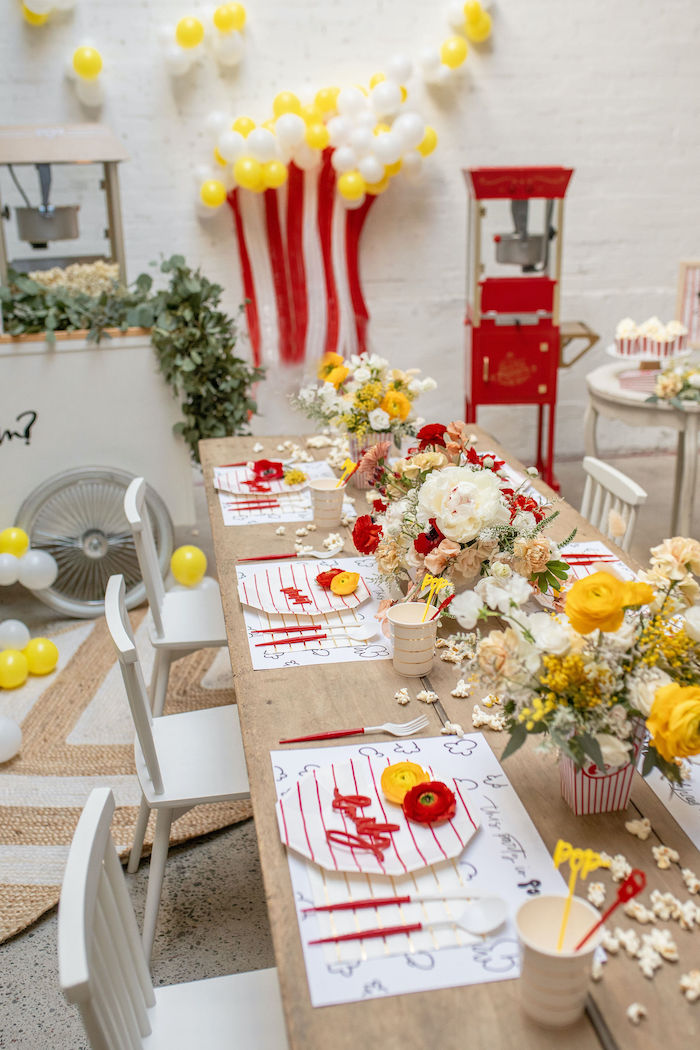 Popcorn Themed Guest Table from a Popcorn Party on Kara's Party Ideas | KarasPartyIdeas.com (15)