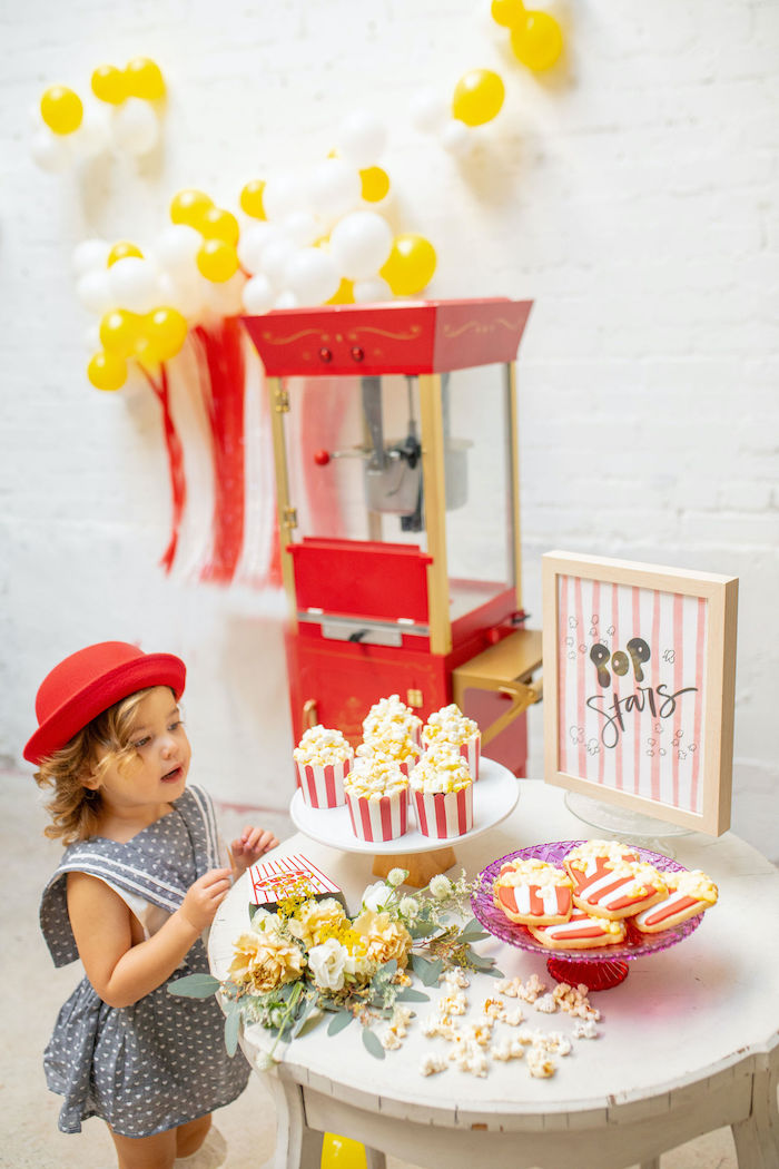 Popcorn Themed Sweet Table from a Popcorn Party on Kara's Party Ideas | KarasPartyIdeas.com (7)