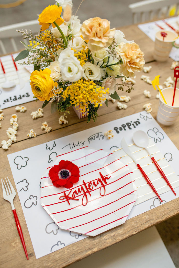 Personalized Popcorn Themed Guest Table Setting from a Popcorn Party on Kara's Party Ideas | KarasPartyIdeas.com (34)
