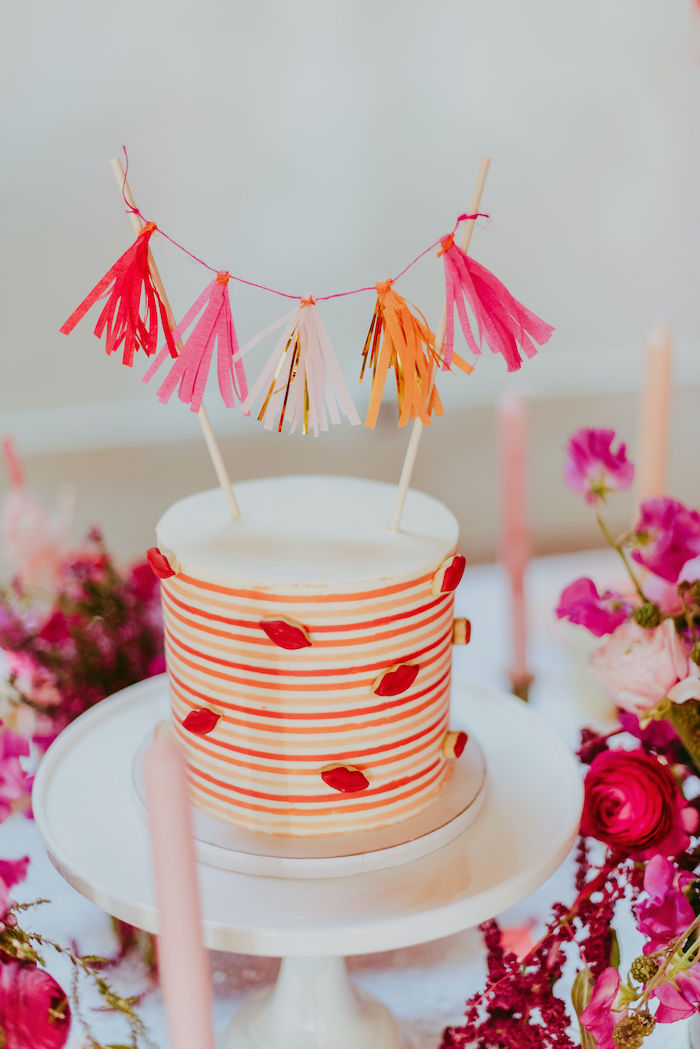 Valentine's Day-inspired Lip Cake from a Posh Mother-Daughter GALentine's Day Party on Kara's Party Ideas | KarasPartyIdeas.com (24)