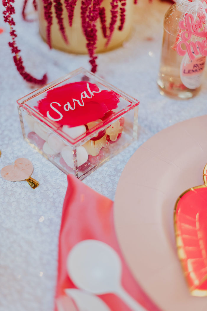 Personalized Acrylic Sweet Favor Box Place Setting from a Posh Mother-Daughter GALentine's Day Party on Kara's Party Ideas | KarasPartyIdeas.com (20)