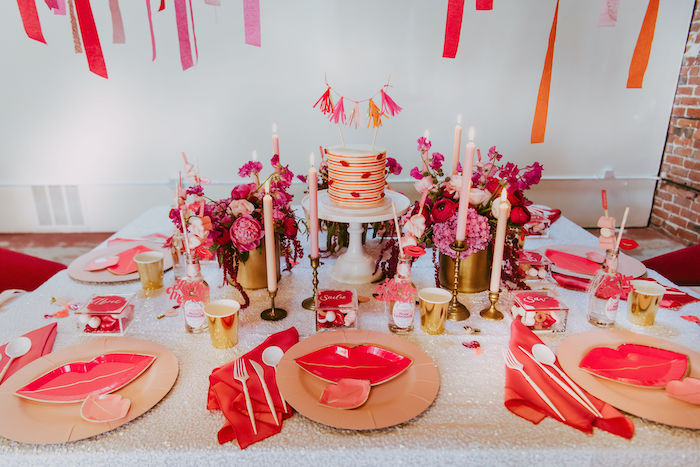 Posh Valentine's Day Guest Table + Table Settings from a Posh Mother-Daughter GALentine's Day Party on Kara's Party Ideas | KarasPartyIdeas.com (16)