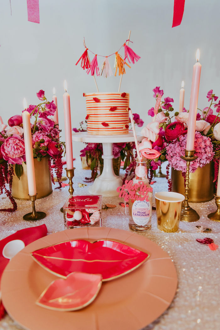 Posh Valentine's Day Guest Table + Table Setting from a Posh Mother-Daughter GALentine's Day Party on Kara's Party Ideas | KarasPartyIdeas.com (15)