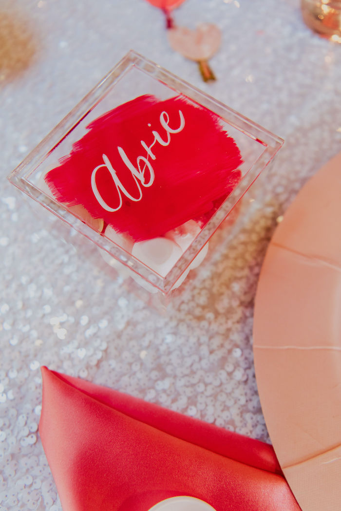 Personalized Acrylic Sweet Favor Box Place Setting from a Posh Mother-Daughter GALentine's Day Party on Kara's Party Ideas | KarasPartyIdeas.com (7)