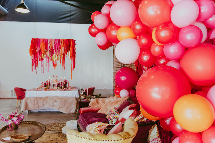 Valentine's Day-inspired Balloon Install from a Posh Mother-Daughter GALentine's Day Party on Kara's Party Ideas | KarasPartyIdeas.com (5)