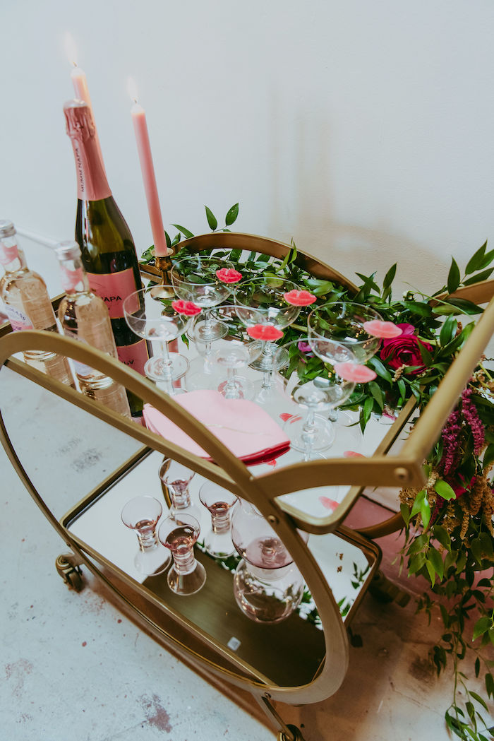 Valentine's Day Beverage Bar from a Posh Mother-Daughter GALentine's Day Party on Kara's Party Ideas | KarasPartyIdeas.com