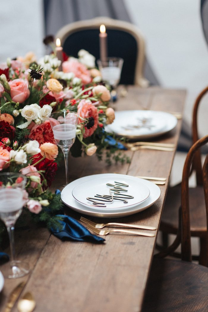 Romantic Table Setting from a Romantic Outdoor Valentine's Day Dinner on Kara's Party Ideas | KarasPartyIdeas.com (13)