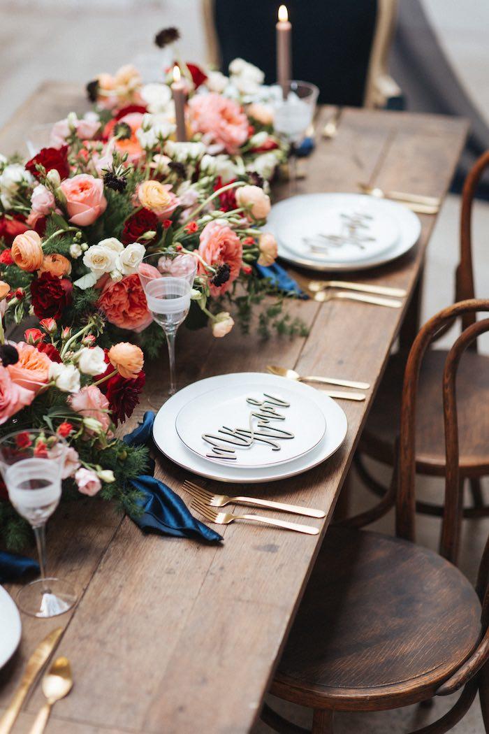 Romantic Mi Amor Table Setting from a Romantic Outdoor Valentine's Day Dinner on Kara's Party Ideas | KarasPartyIdeas.com (12)