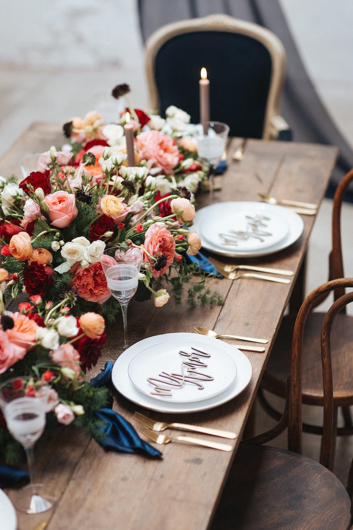 Romantic Guest Table from a Romantic Outdoor Valentine's Day Dinner on Kara's Party Ideas | KarasPartyIdeas.com (11)