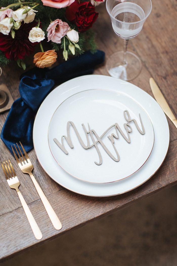 Mi Amor Table Setting from a Romantic Outdoor Valentine's Day Dinner on Kara's Party Ideas | KarasPartyIdeas.com (10)