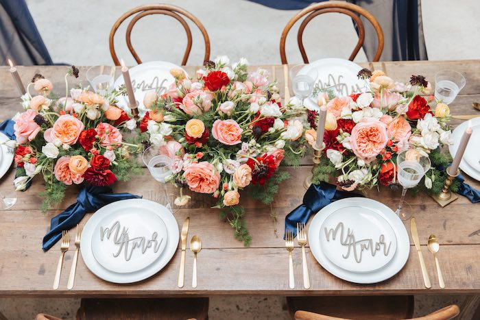 Romantic Guest Table from a Romantic Outdoor Valentine's Day Dinner on Kara's Party Ideas | KarasPartyIdeas.com (22)