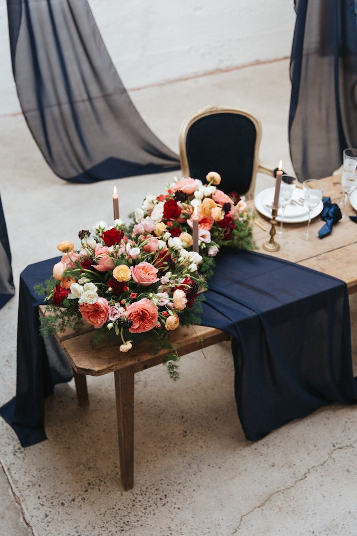 Navy-lined Guest Table from a Romantic Outdoor Valentine's Day Dinner on Kara's Party Ideas | KarasPartyIdeas.com (2)