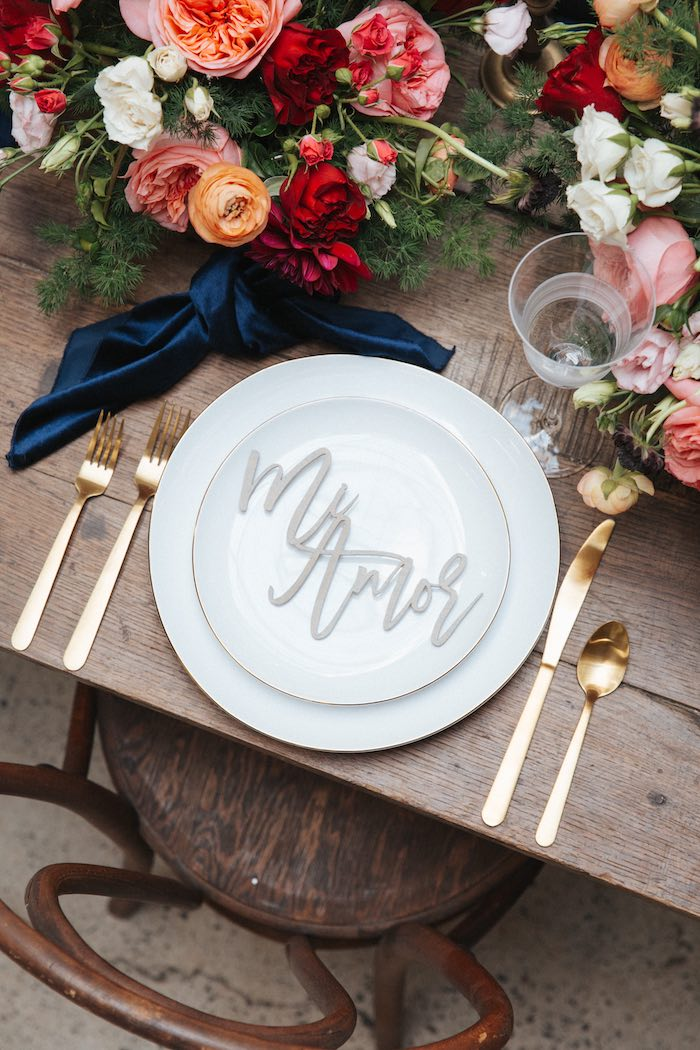 Mi Amor Table Setting from a Romantic Outdoor Valentine's Day Dinner on Kara's Party Ideas | KarasPartyIdeas.com (20)
