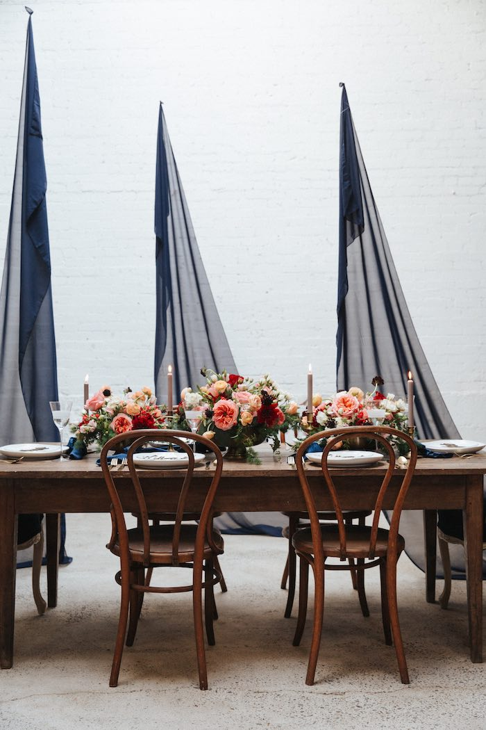 Navy-inspired Guest Table from a Romantic Outdoor Valentine's Day Dinner on Kara's Party Ideas | KarasPartyIdeas.com (19)