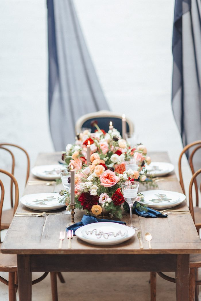 Rustic Elegant Guest Table from a Romantic Outdoor Valentine's Day Dinner on Kara's Party Ideas | KarasPartyIdeas.com (14)