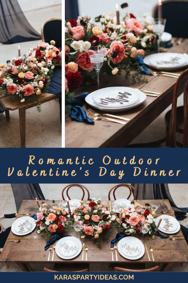 Romantic Outdoor Valentine's Day Dinner via Kara's Party Ideas - KarasPartyIdeas.com