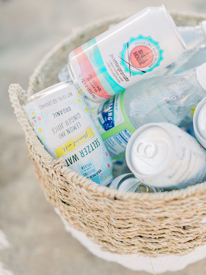 Beverages in a Basket from a Seaside Birthday Brunch on Kara's Party Ideas | KarasPartyIdeas.com (24)