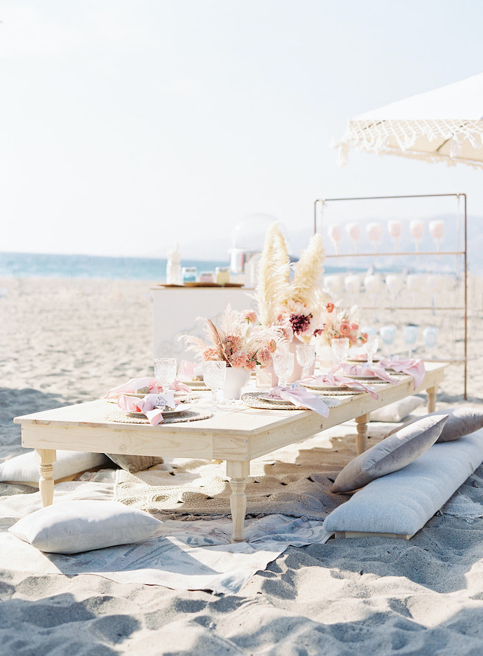 Low Oversized Wooden Guest Table with Plush Pillows from a Seaside Birthday Brunch on Kara's Party Ideas | KarasPartyIdeas.com (23)