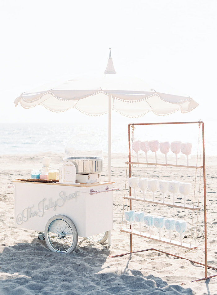 Cotton Candy Cart from a Seaside Birthday Brunch on Kara's Party Ideas | KarasPartyIdeas.com (19)