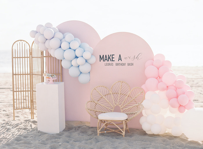 Modern Panel Backdrop + Dessert Spread from a Seaside Birthday Brunch on Kara's Party Ideas | KarasPartyIdeas.com (12)