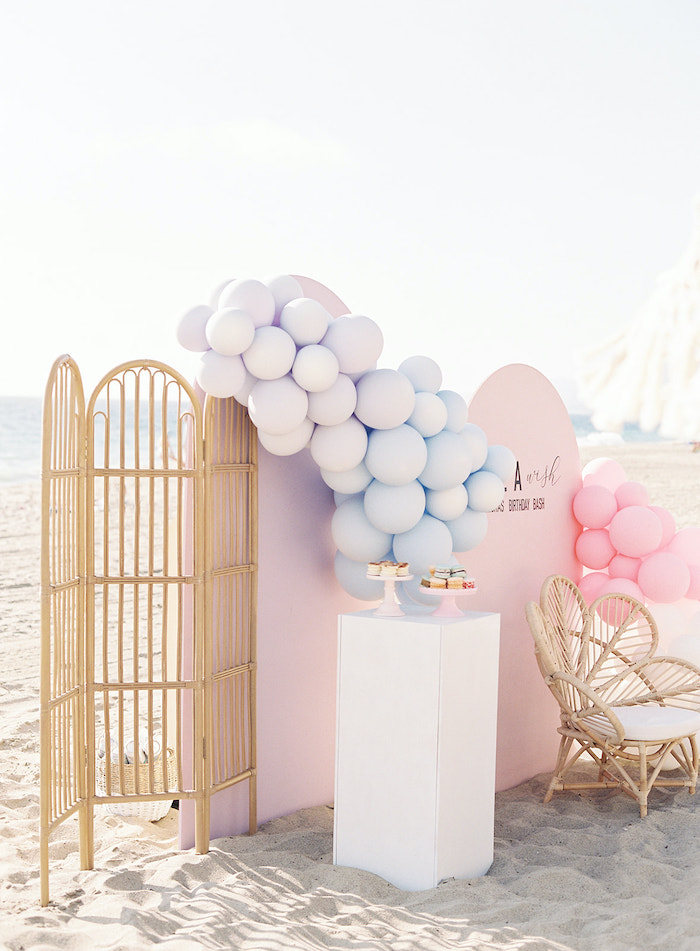 Modern Panel Backdrop + Dessert Spread from a Seaside Birthday Brunch on Kara's Party Ideas | KarasPartyIdeas.com (11)