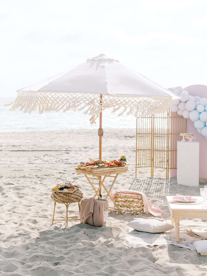 Macrame Umbrella Table from a Seaside Birthday Brunch on Kara's Party Ideas | KarasPartyIdeas.com (35)