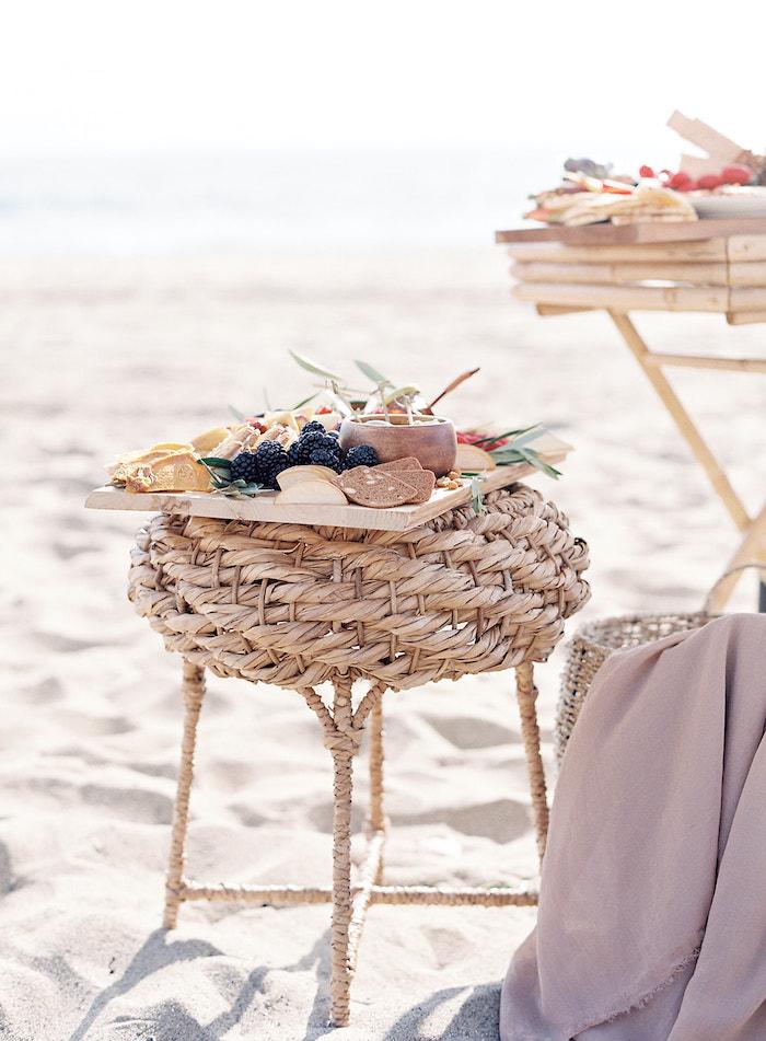 Charcuterie Board atop Woven Stool from a Seaside Birthday Brunch on Kara's Party Ideas   KarasPartyIdeas.com (31)