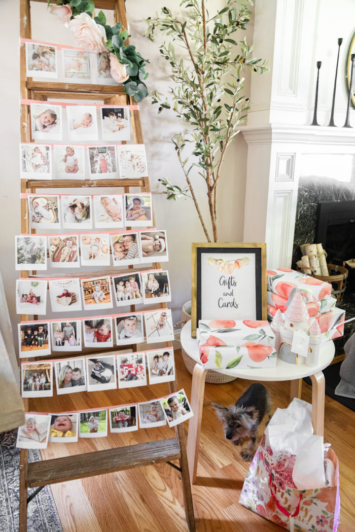 First Year Photo Ladder + Gift Table from a Sweet Peach 1st Birthday on Kara's Party Ideas | KarasPartyIdeas.com (23)
