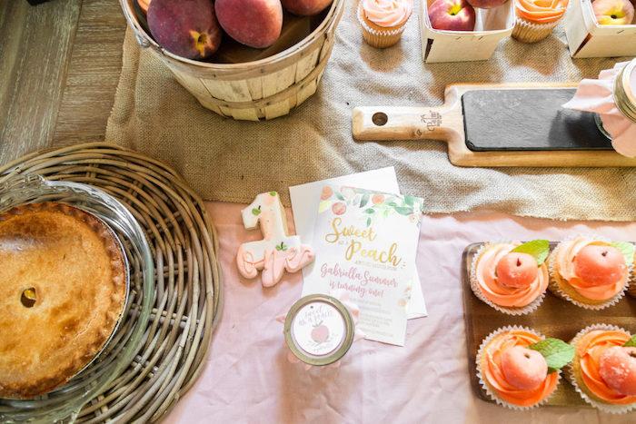 Peach Party Invite from a Sweet Peach 1st Birthday on Kara's Party Ideas | KarasPartyIdeas.com (22)