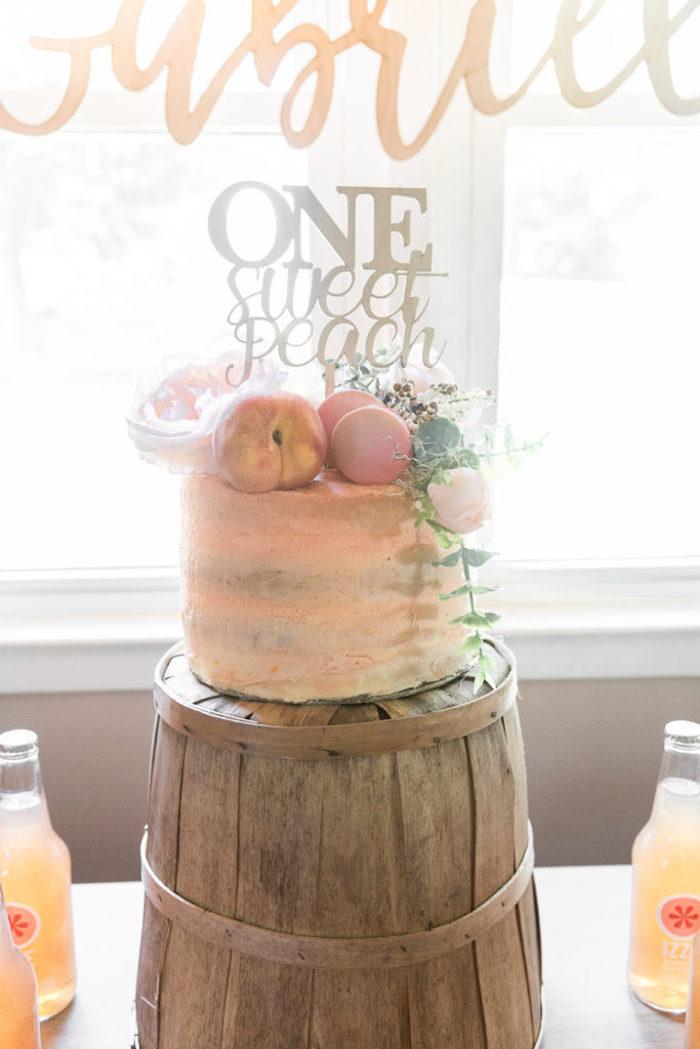 Peach Themed Birthday Cake from a Sweet Peach 1st Birthday on Kara's Party Ideas | KarasPartyIdeas.com (18)