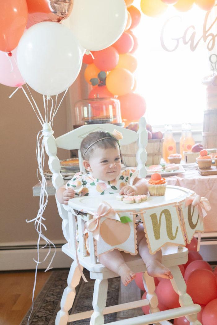 ONE Peach Themed Highchair Banner from a Sweet Peach 1st Birthday on Kara's Party Ideas | KarasPartyIdeas.com (17)