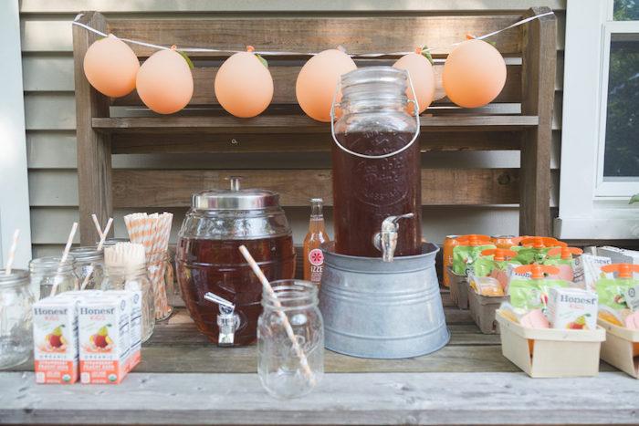 Rustic Peach Themed Beverage Table from a Sweet Peach 1st Birthday on Kara's Party Ideas | KarasPartyIdeas.com (14)