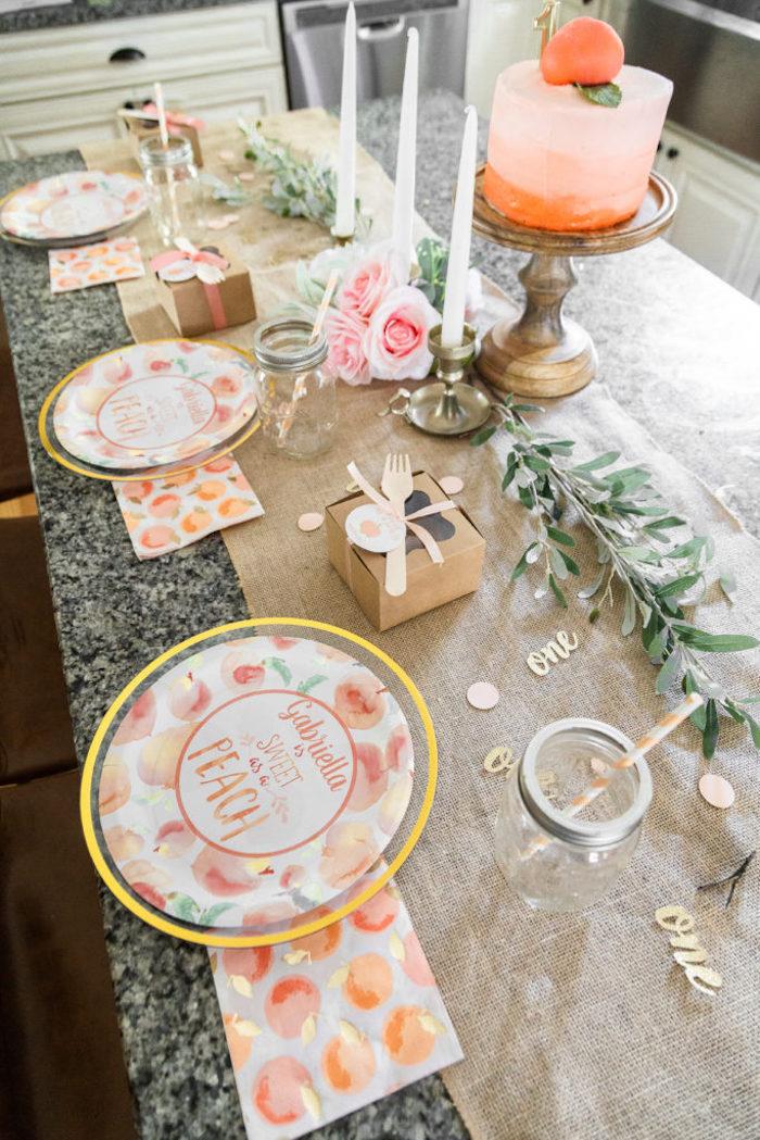 Peach Themed Guest Table from a Sweet Peach 1st Birthday on Kara's Party Ideas | KarasPartyIdeas.com (32)