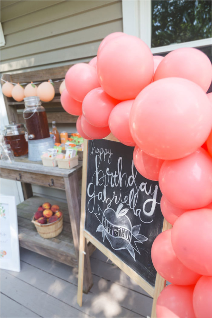 Chalkboard + Balloon Garland Sign from a Sweet Peach 1st Birthday on Kara's Party Ideas | KarasPartyIdeas.com (13)
