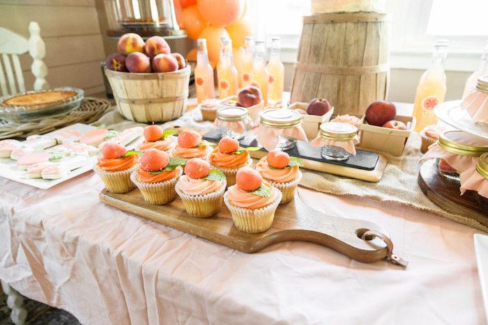 Peach Cupcakes from a Sweet Peach 1st Birthday on Kara's Party Ideas | KarasPartyIdeas.com (31)
