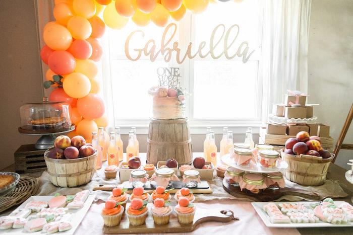 Peach Themed Dessert Table from a Sweet Peach 1st Birthday on Kara's Party Ideas | KarasPartyIdeas.com (30)