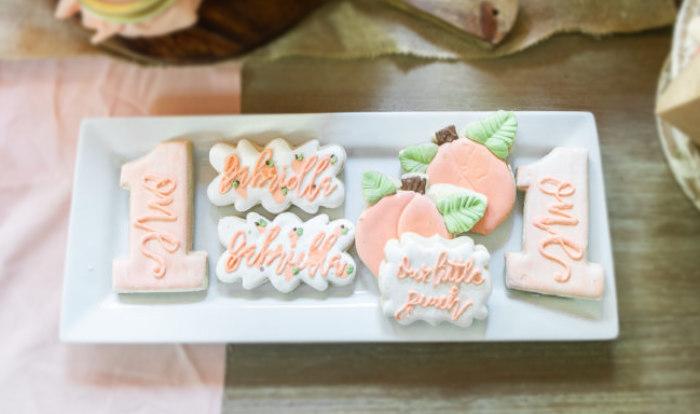 Peach-inspired Cookies from a Sweet Peach 1st Birthday on Kara's Party Ideas | KarasPartyIdeas.com (26)