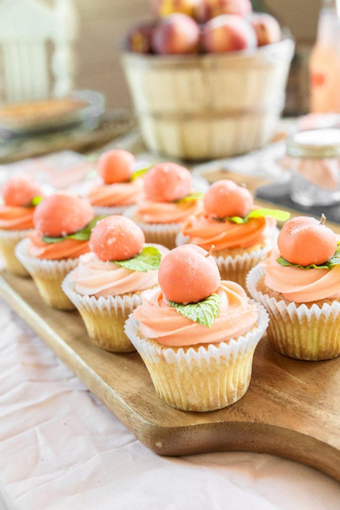 Peach Themed Cupcakes from a Sweet Peach 1st Birthday on Kara's Party Ideas | KarasPartyIdeas.com (25)