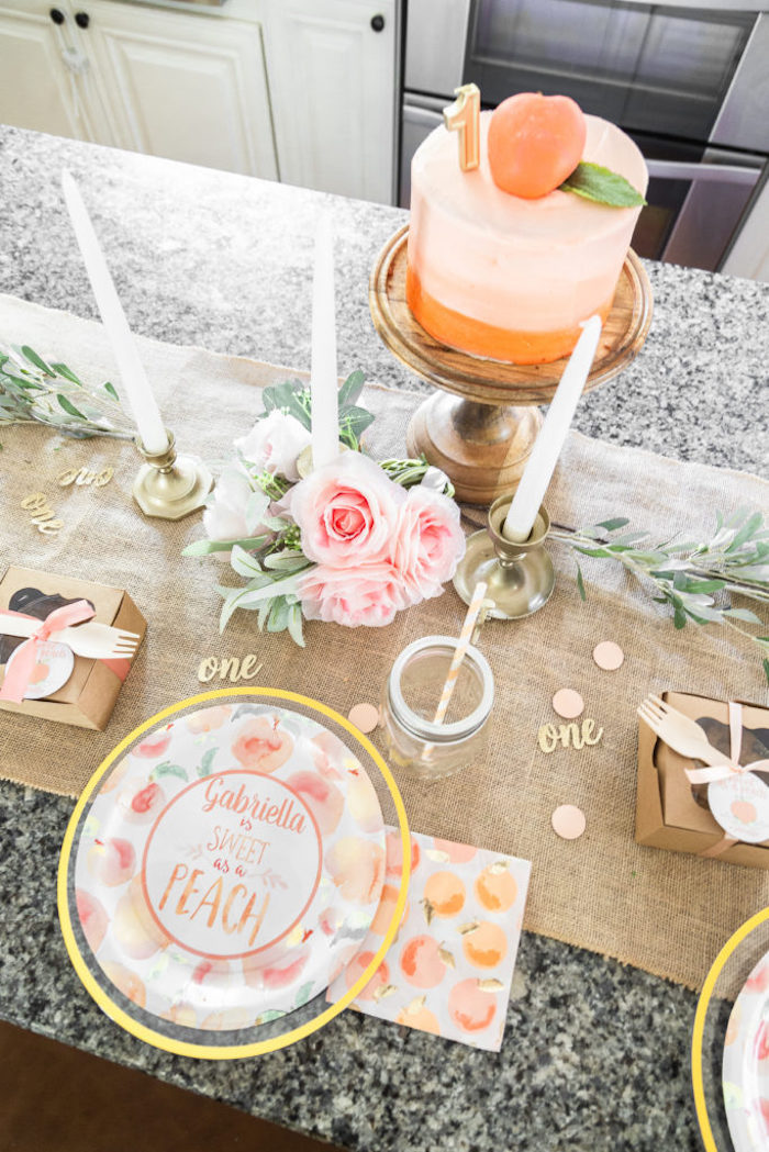Peach Themed Guest Table + Table Setting from a Sweet Peach 1st Birthday on Kara's Party Ideas | KarasPartyIdeas.com (24)