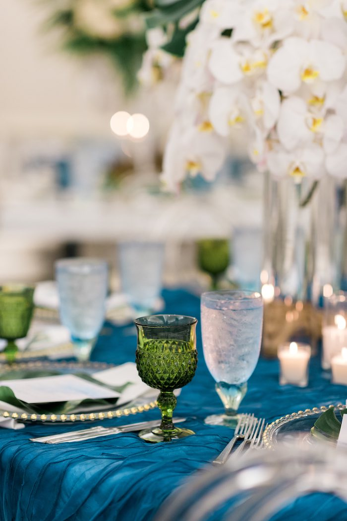 Green + Blue Drink Glasses from a Tropical Seaside Bar Mitzvah on Kara's Party Ideas   KarasPartyIdeas.com (24)