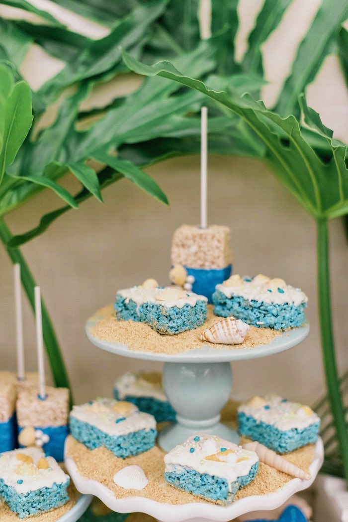 Rice Krispie Treats from a Tropical Seaside Bar Mitzvah on Kara's Party Ideas   KarasPartyIdeas.com (16)