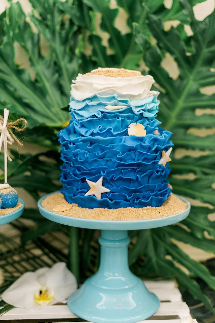 Sea Themed Cake from a Tropical Seaside Bar Mitzvah on Kara's Party Ideas   KarasPartyIdeas.com (14)