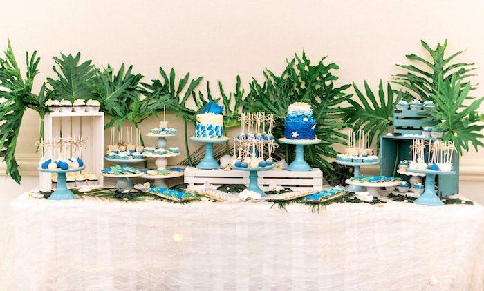 Tropical Sea Themed Dessert Table from a Tropical Seaside Bar Mitzvah on Kara's Party Ideas   KarasPartyIdeas.com (12)